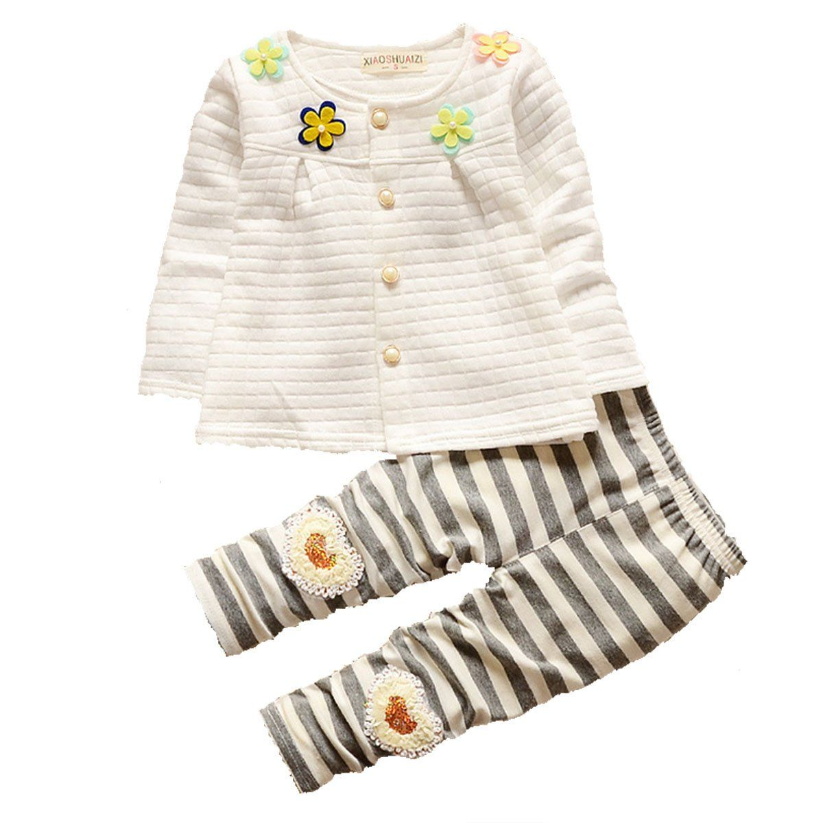 KINYBABY 2pcs Toddler Baby Girl Clothing Set Cute Cardigan Top ...