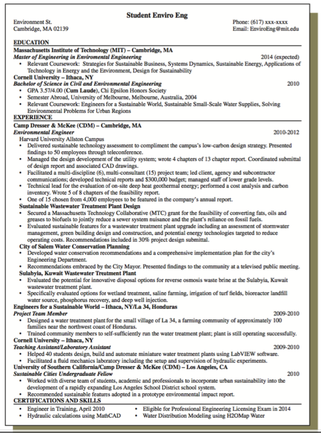Sample Resume For Sustainable Wastewater Examples Resume Cv Environmental Engineering Resume Massachusetts Institute Of Technology