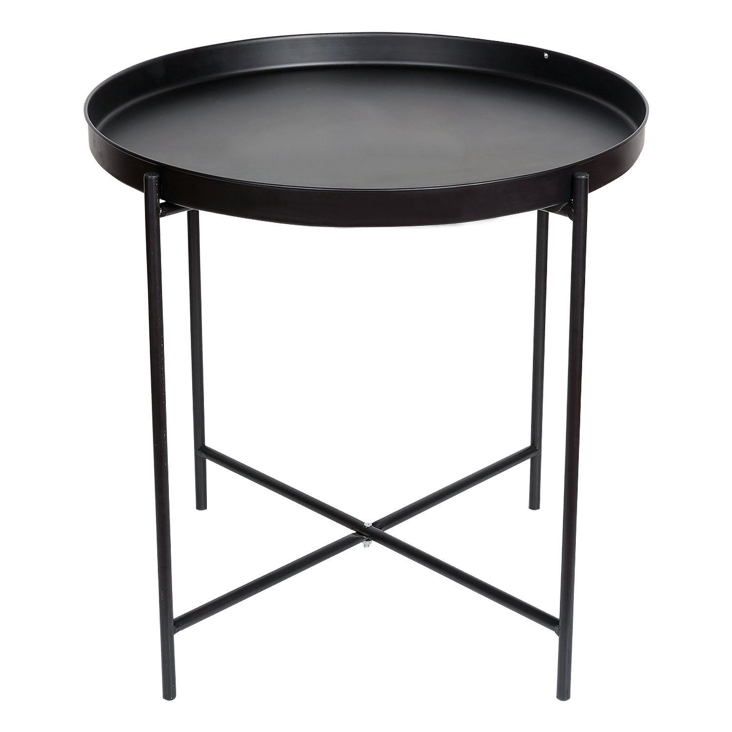 Hollyhome Folding Tray Metal End Table Black Can Be Used As Circle