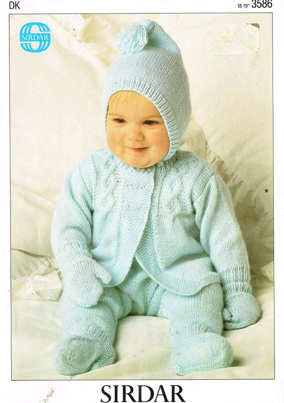 d2a189064 baby pram suit vintage knitting pattern PDF instant download ...