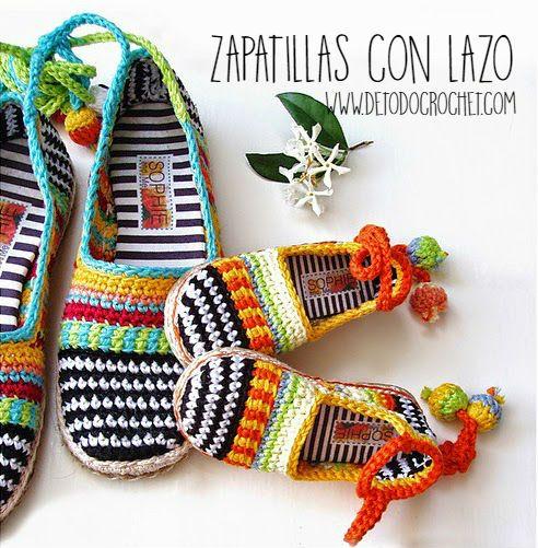 Zapatillas tejidas a crochet con lazo en tobillo | crochet ...