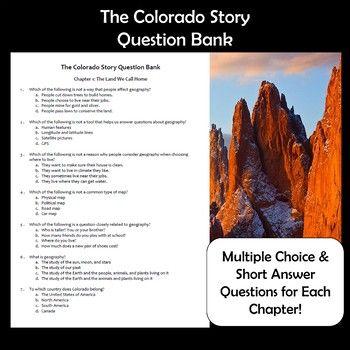 Colorado History The Colorado Story Textbook Question Bank K 12