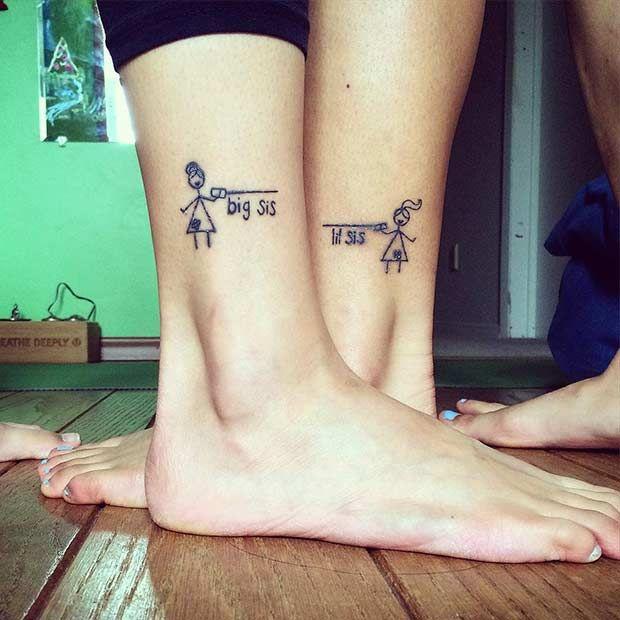 69 heart warming sister tattoo ideas lil sis big sis for Big sister and little sister tattoos