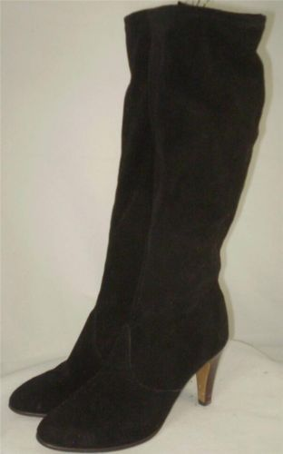 8b9905dc04 Vintage 70s 80s Tall Suede Leather Boot Black Knee High Heels Side Zip 8 M