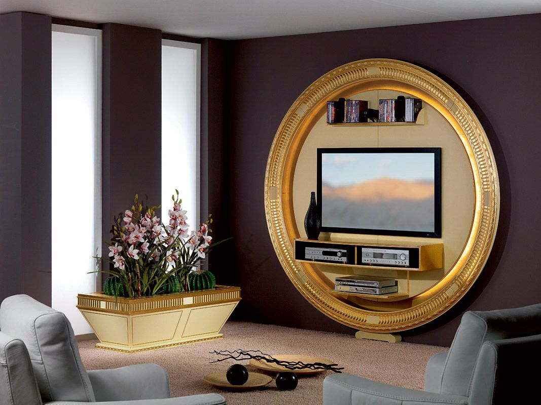 Tv Stand With Round Shape In Art Deco Style Gold And Cream Laquered Color  For Living