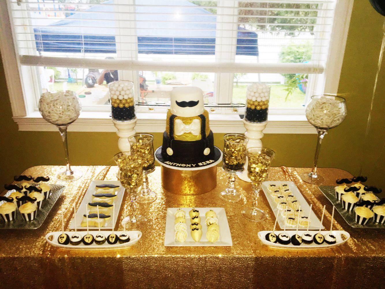 Little Gentleman S Baby Shower Cake Table Black Gold White