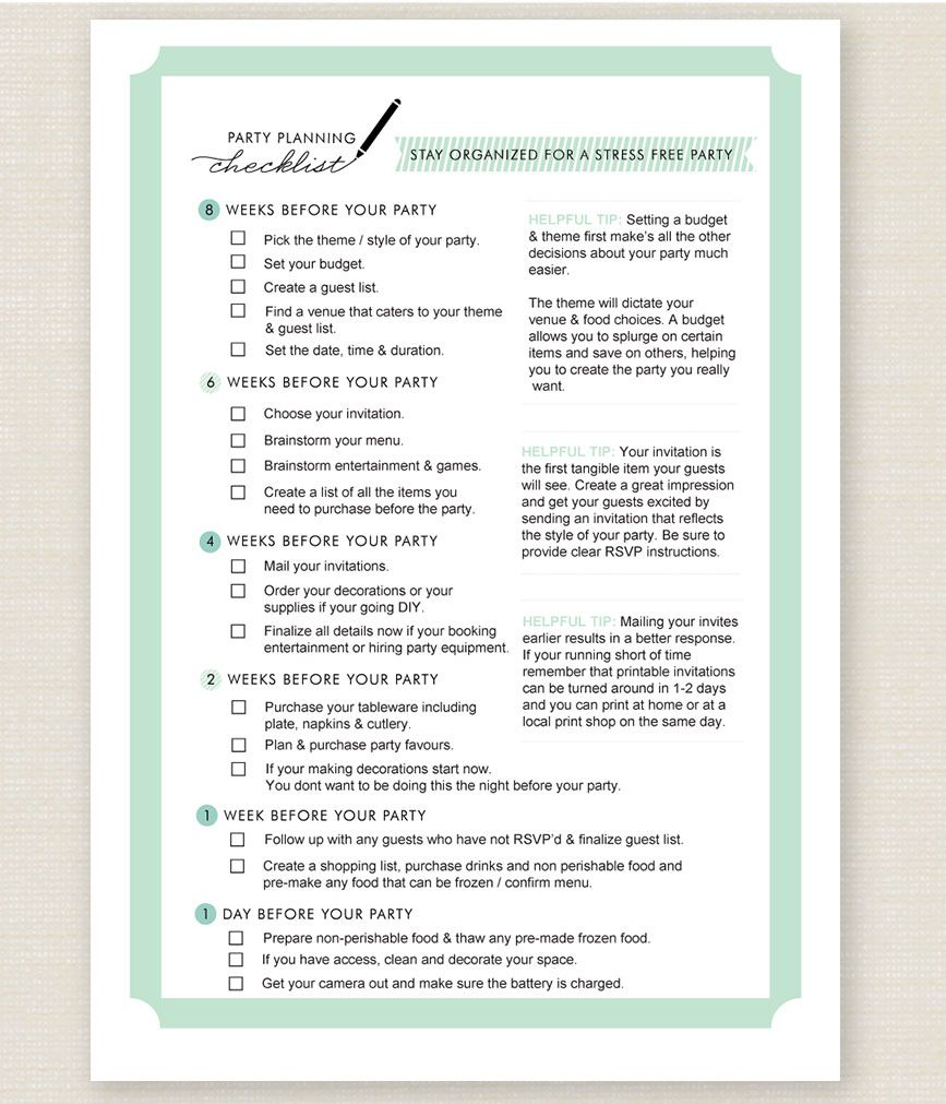 Birthday Party Planning Checklist Template 9Party Planning Checklist ~ This Birthday Party Checklist Will .