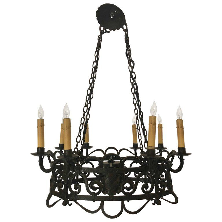 Antique French Wrought Iron Chandelier Circa 1880 Iron