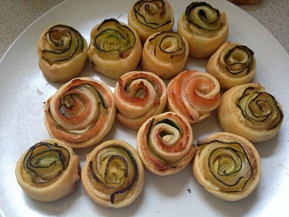 Rose finger food con pasta brisè e zucchine