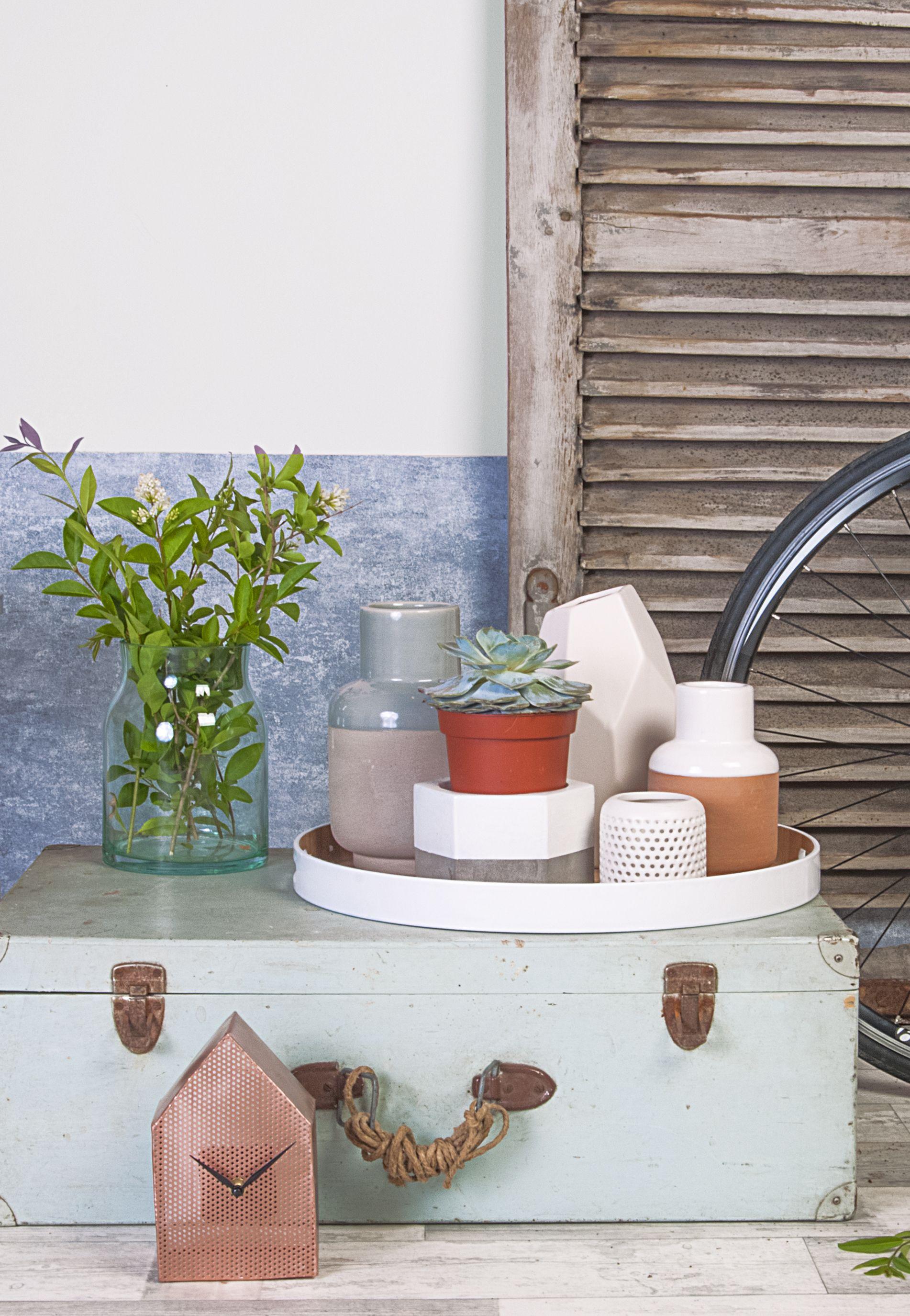 Nordic Living - Present time Kaarsenhouder XL 6 hoek cement/wit