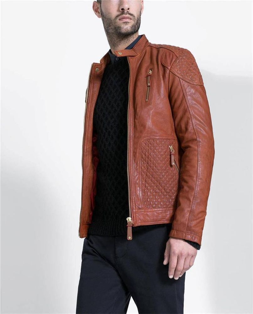 c8daf5b3 ZARA Man Russet Brown Leather Jacket Goat Leather SMALL RRP £179 Genuine  BNWT