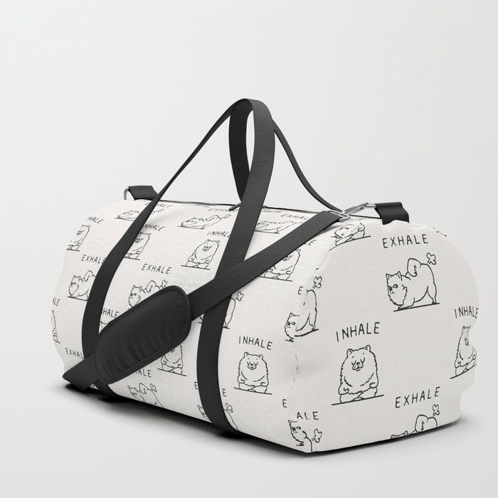 "Inhale Exhale Pomeranian Travel/duffle Bag by Huebucket - SMALL - 19"" x 9.5"""