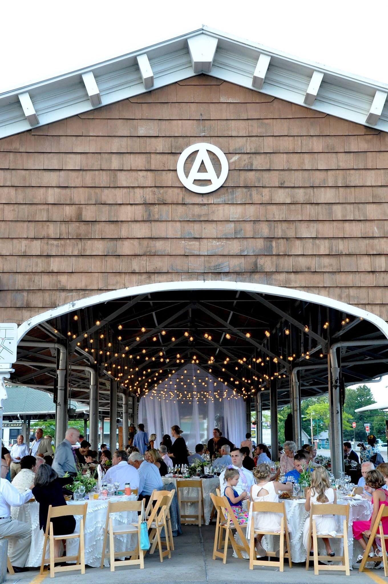Rochester Public Market Reception Under A Shed Cafe Lights Wedding