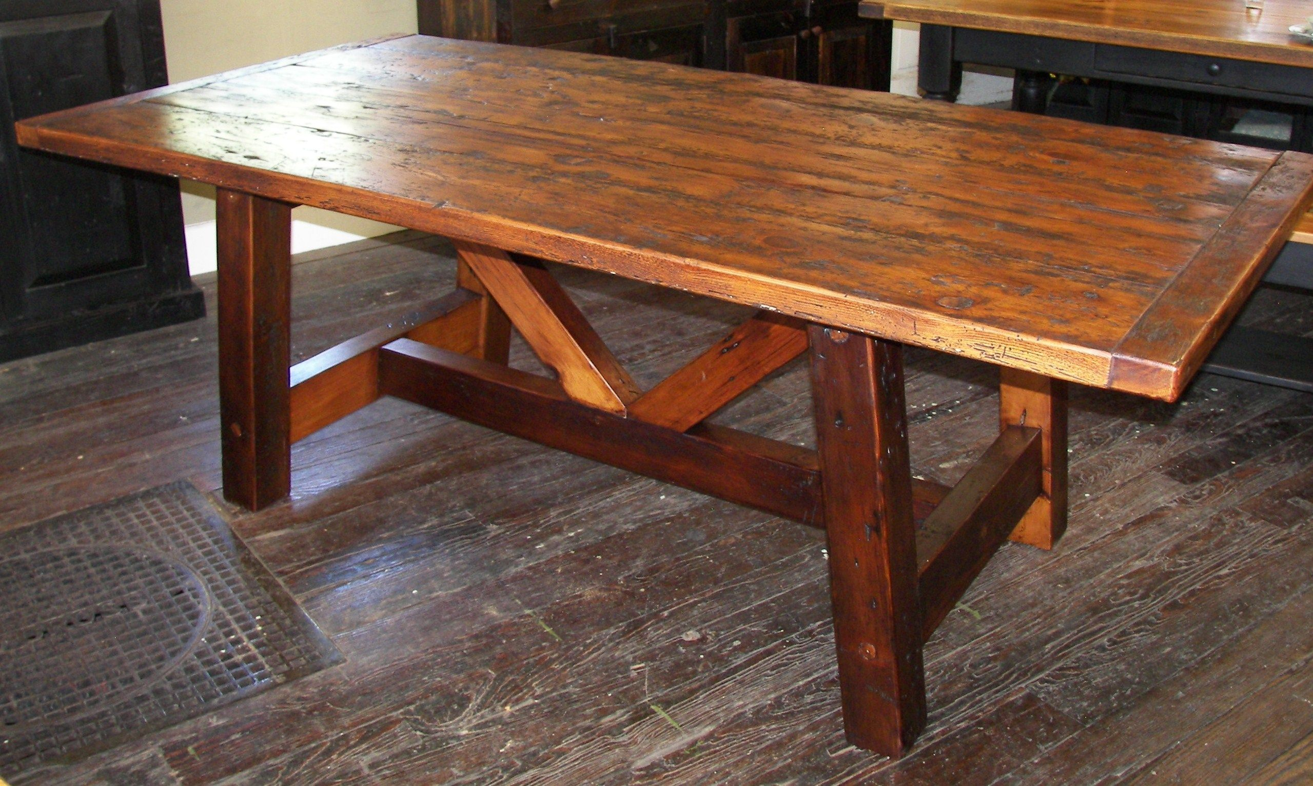 reclaimed barn wood trestle table sawbuck trestle wood from dismantled barns and log homes