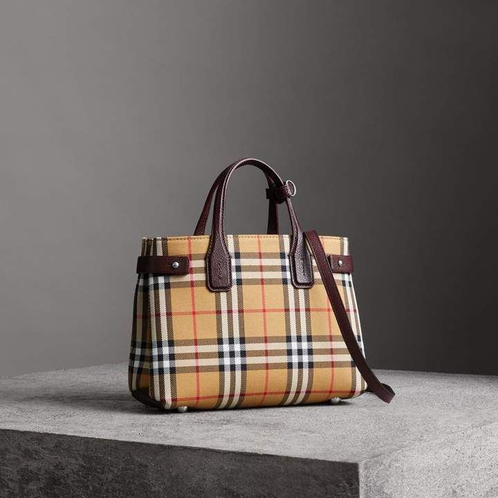 5a001390e58c The Small Banner in Vintage Check and Leather in Deep Claret - Women ...