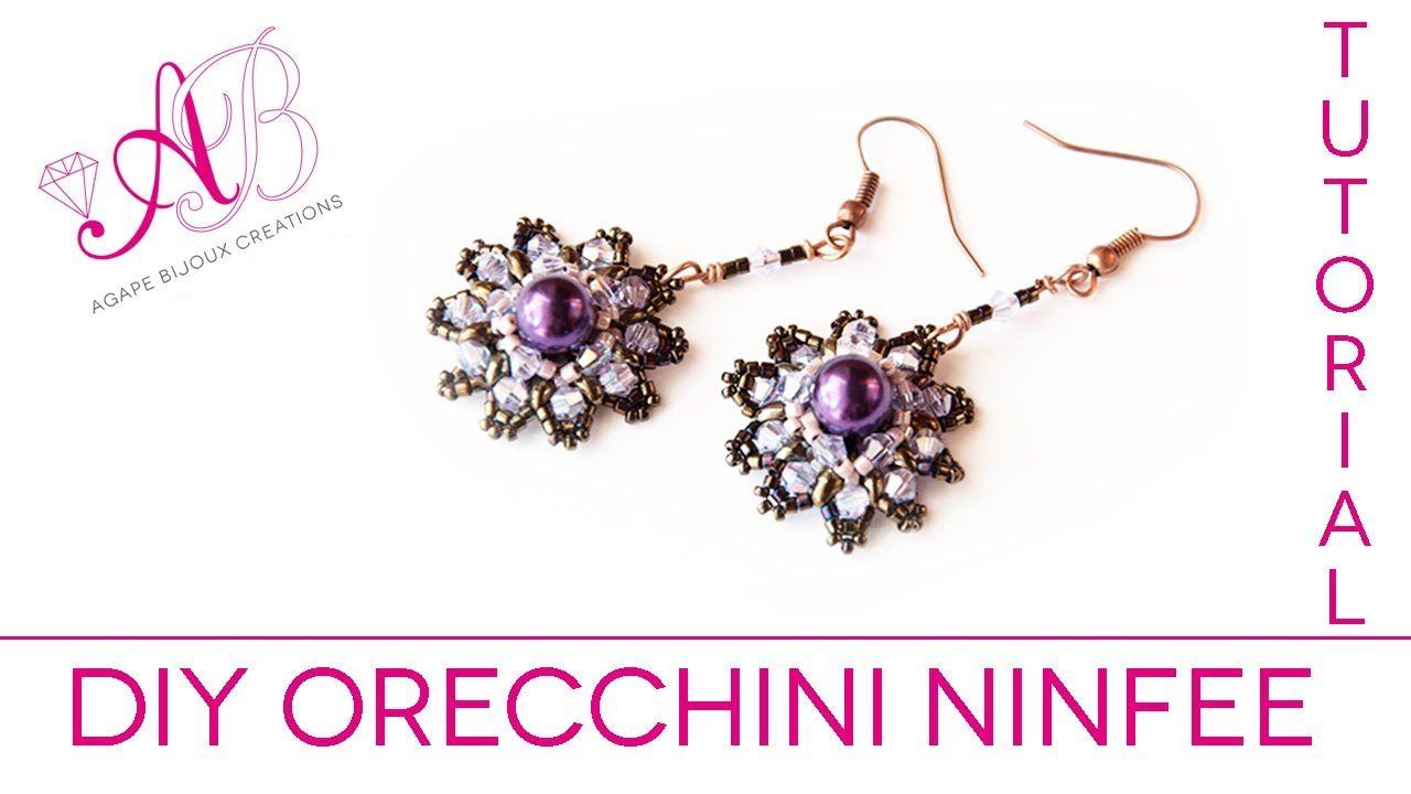 DIY Tutorial Orecchini Ninfee peyote con perline e Twin / Water Lily Ear...