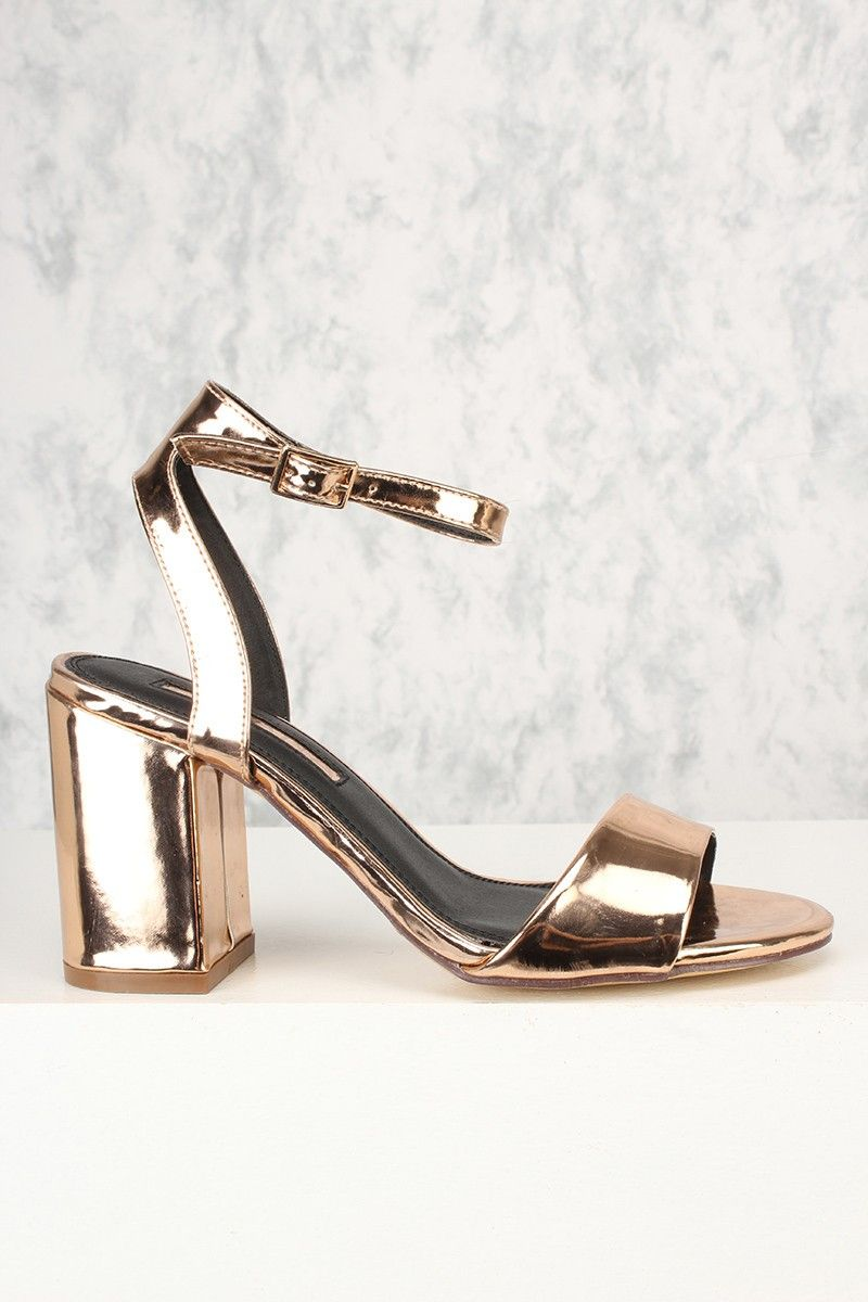 8173a053335 15Sexy Rose Gold Single Sole Ankle Strap Chunky Heels Faux Leather