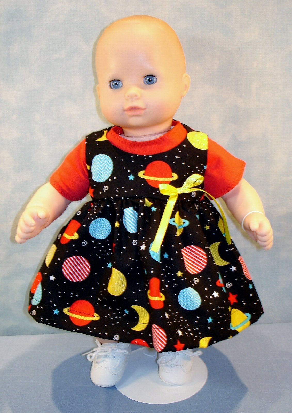 15 Inch Doll Clothes Red and Yellow Floral Shorts Set handmade by Jane Ellen to fit 15 inch baby dolls