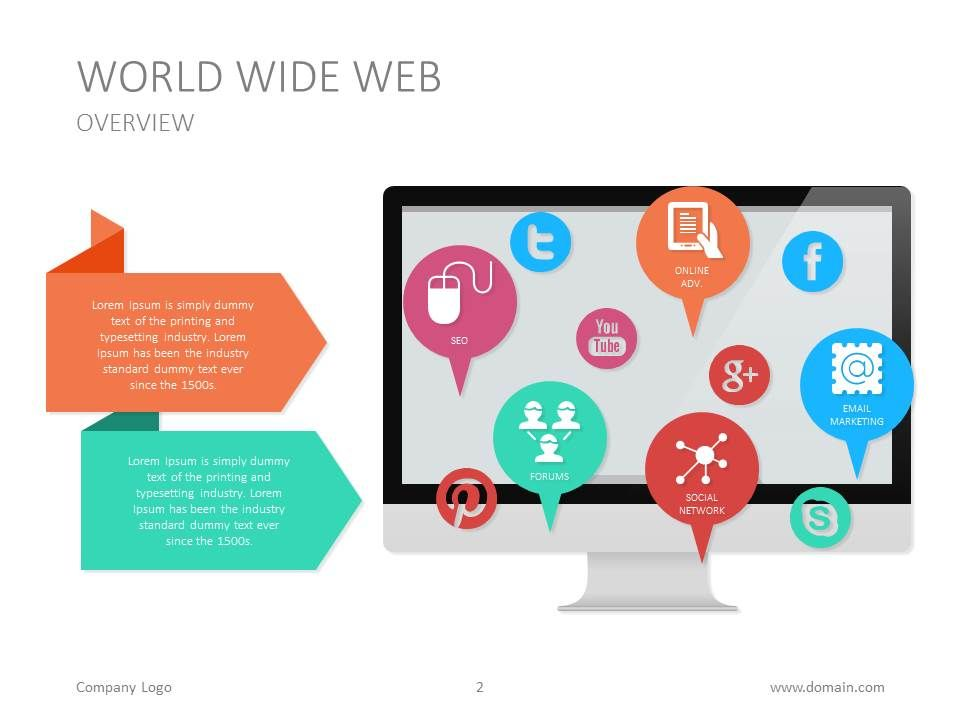 World Wide Web Marketing Presentation Slide Socialmedia Icons