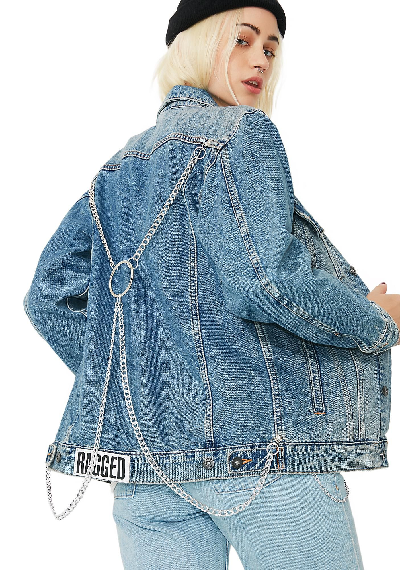 87576dae102b94 The Ragged Priest Bind Denim Jacket will hold ya close. This denim jacket  has silver chains on the back