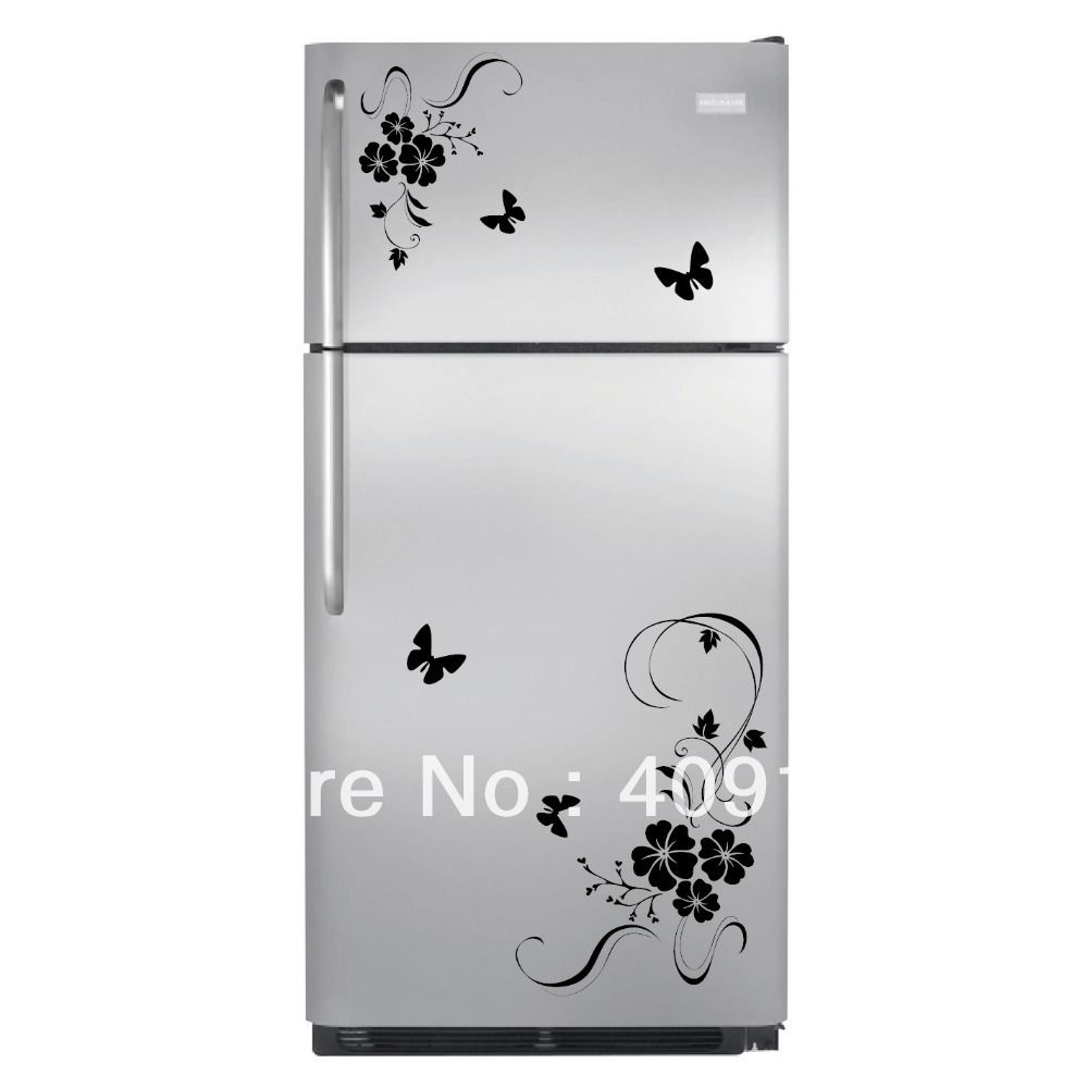 Butterfly Flower Wall Art Stickers Wall Decal Kitchen Refrigerator Home Decor Decoration Hot Sale Freeshipping Ch Sticker Wall Art Decal Wall Art Wall Stickers