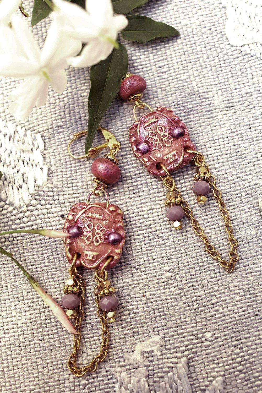 shabby earrings- romantic dangles- retro, vintage style- old rose