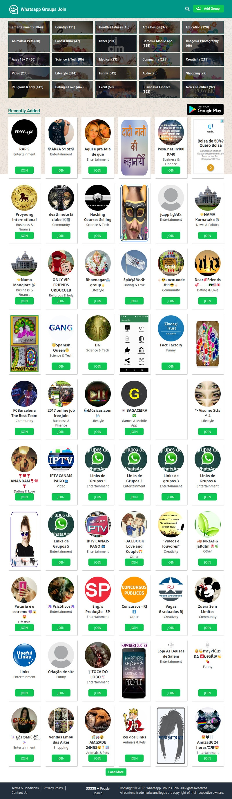 Screenshot of the www whatsappgroupsjoin com homepage by Snapito