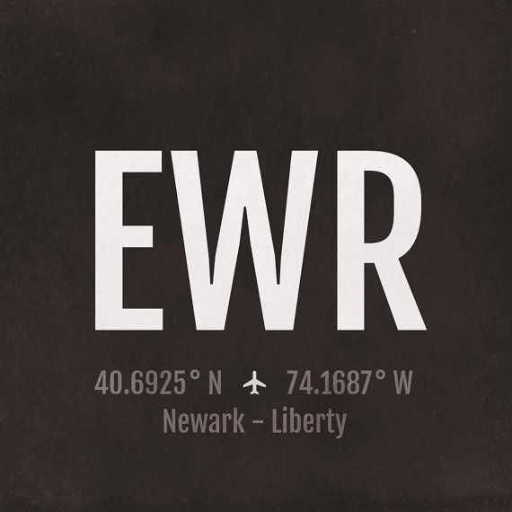 Newark Airport Code Print Ewr Aviation Art New Jersey Airplane