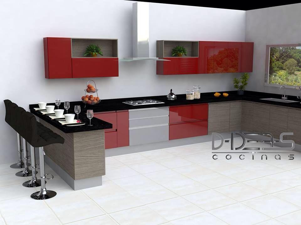 Cocina roja moda Pinterest Cocina roja, Rojo y Cocinas