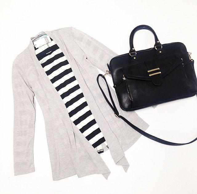 Grey Cardigan $24. Striped Shirt $28. Bag $56 @ Primp Boutique