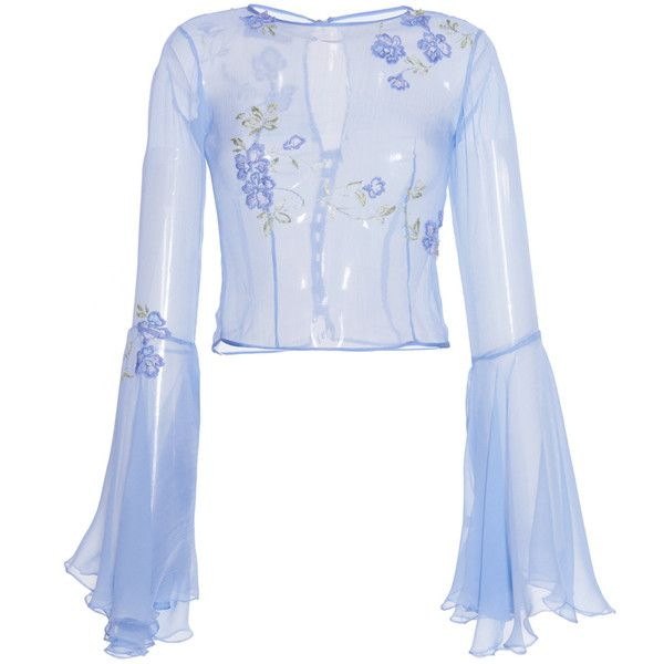 Luisa Beccaria     Chiffon Blouse with Wide Sleeves And Embroidered... (3.870 BRL) ❤ liked on Polyvore featuring tops, blouses, luisa beccaria, blue, chiffon blouse, floral print blouse, blue chiffon blouse, embroidery blouses and flower blouse