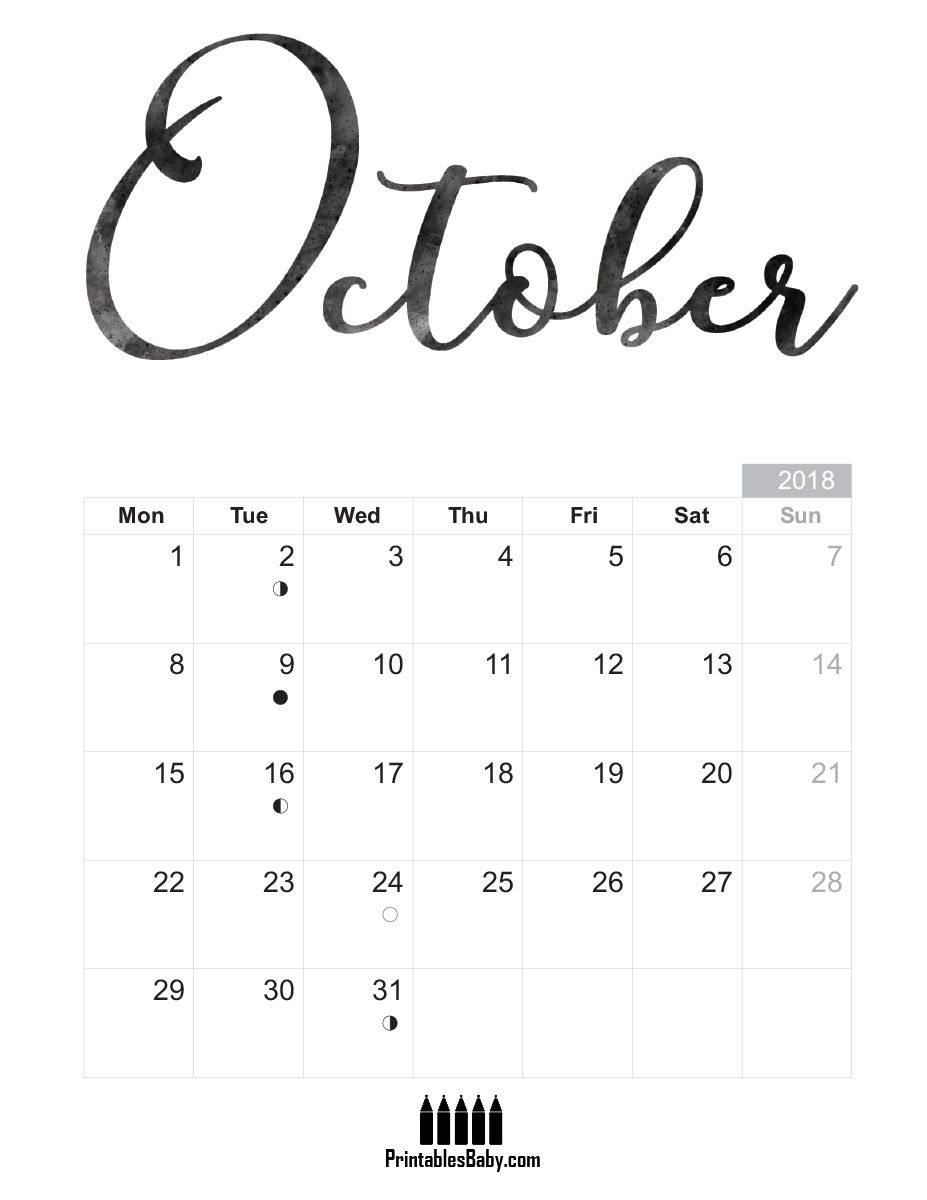 October 2018 calendar | Free printable, October calendar and Babies
