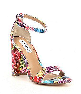 6cde8f39e54 Steve Madden Carrson Flower Multi Ankle Strap Block Heel Dress Sandals