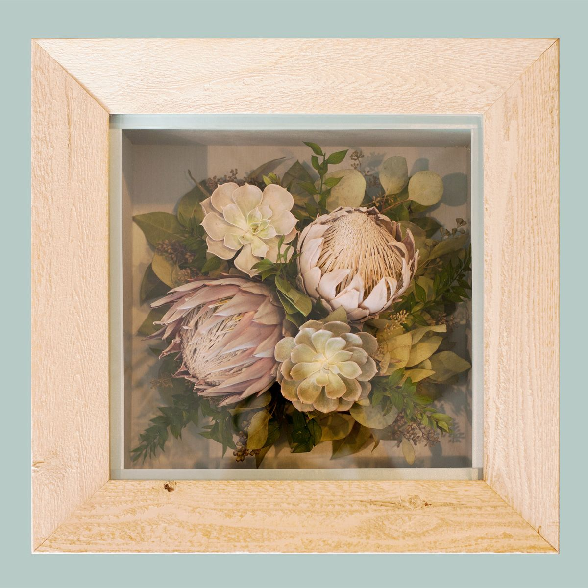 Preserved bridal bouquet in a rustic handmade shadow box