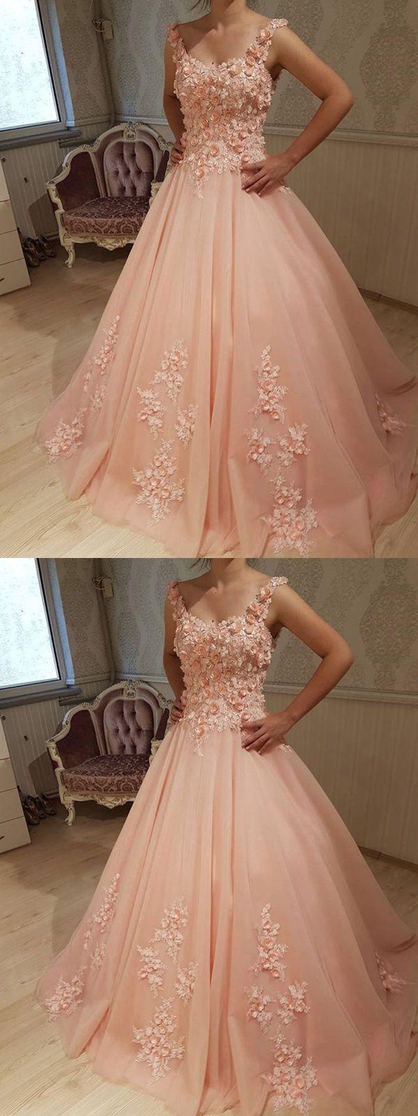 Ball gown scoop sleeveless pink long promevening dress promdress