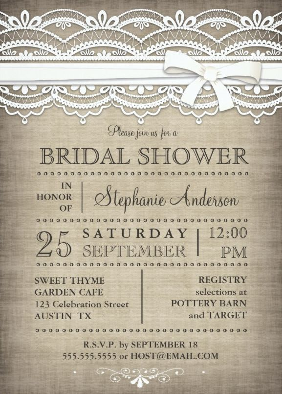 Vintage Lace Linen Rustic Country Bridal Shower Invitation Elegant Customize