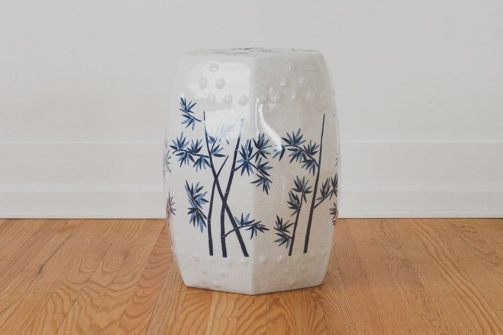 Vintage Ceramic Garden Stool - Navy Accents, Carved Details, Plant Stand, Side Table, Home Decor