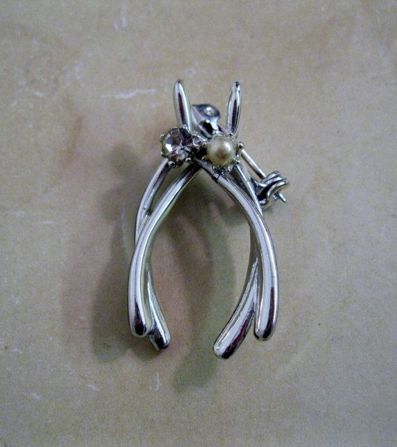 Vintage Wishbone Pin by Suite22 on Etsy, $4.00