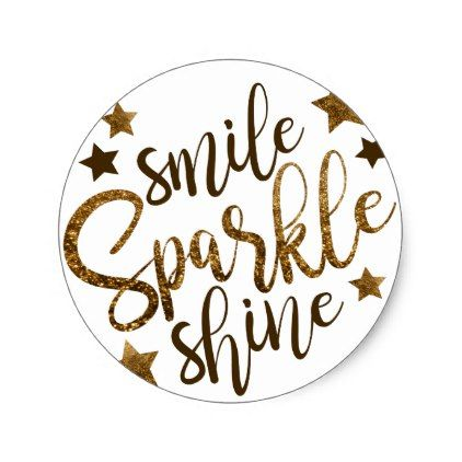 Gold sparkles smile sparkle shine classic round sticker glitter gifts personalize gift ideas unique