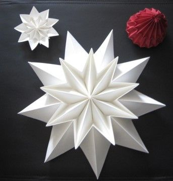 Deco paper decoration origami stars (2 pieces) made of paper white window decoration paper folded stars living decoration hanging jewelry