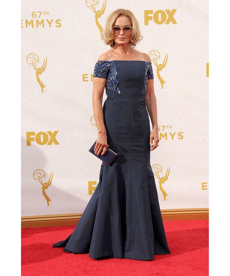 Jessica Lange wore J. Mendel at the 2015 Emmy Awards.
