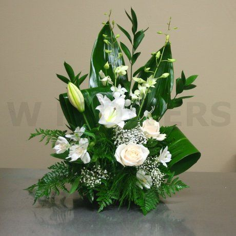 W Flowers Product Small Sympathy Arrangement In White Arranjos De Flores Simples