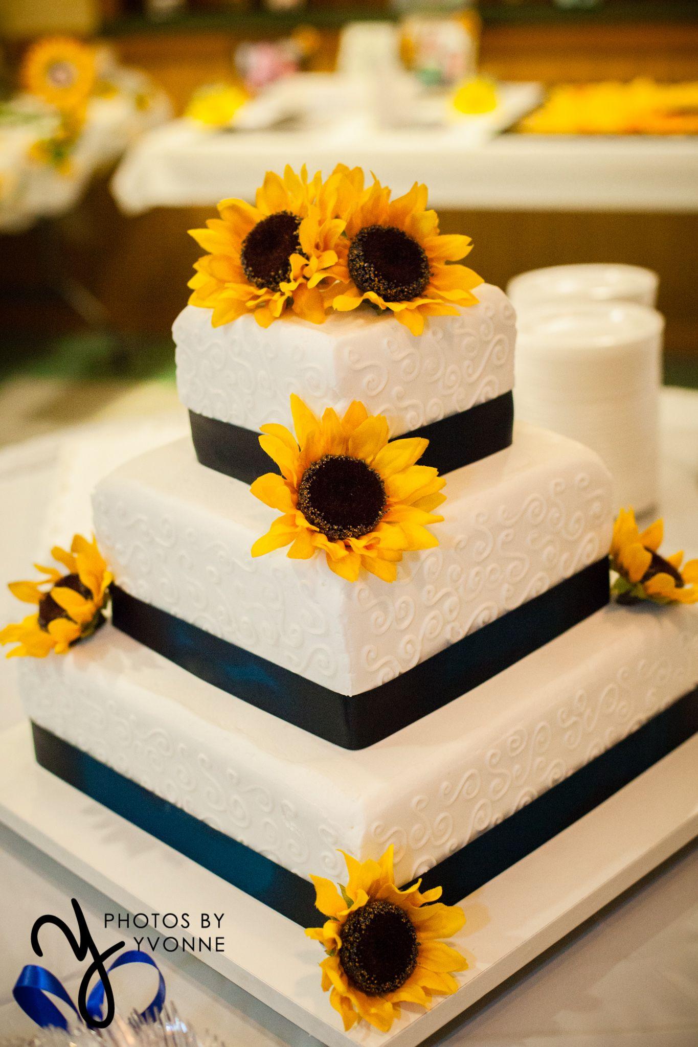 3 tier square wedding cake // sunflowers & navy ribbon