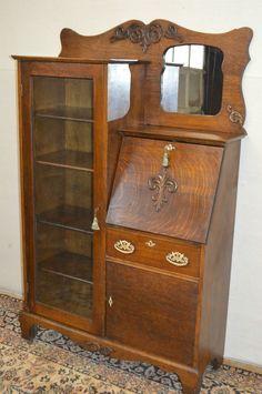 Larkin Antique 1900 S Drop Front Tiger Oak Secretary Desk Side By Bookcase