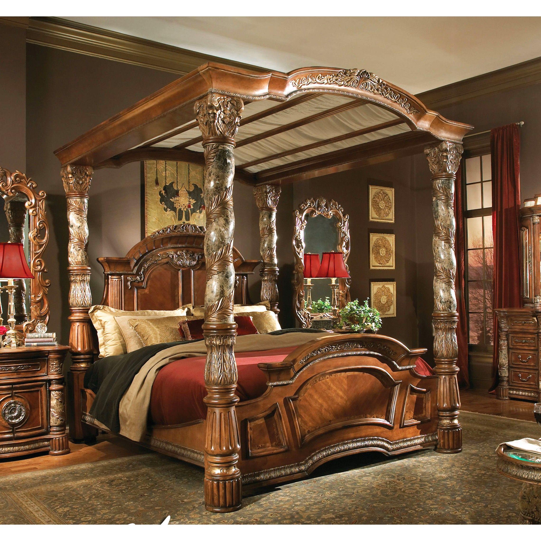 Michael Amini Villa Valencia King Size Poster Canopy Bed