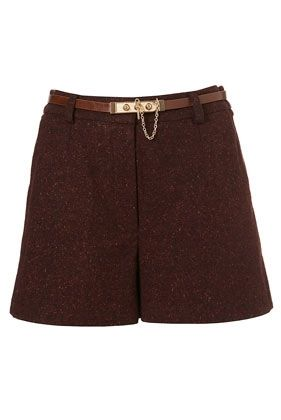 Flannel Chain Belted Shorts - StyleSays