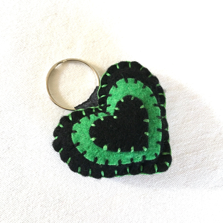 Heart Keyring - Felt Heart - Heart Keychain - Heart Key Fob - Padded ...
