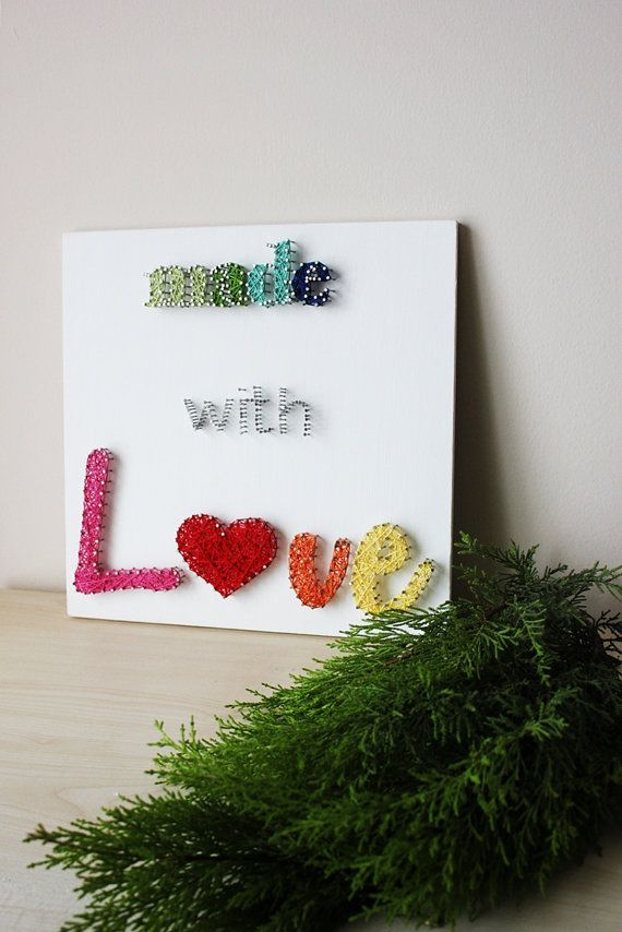 Made With Love String Wall Art  - String art by Arzu