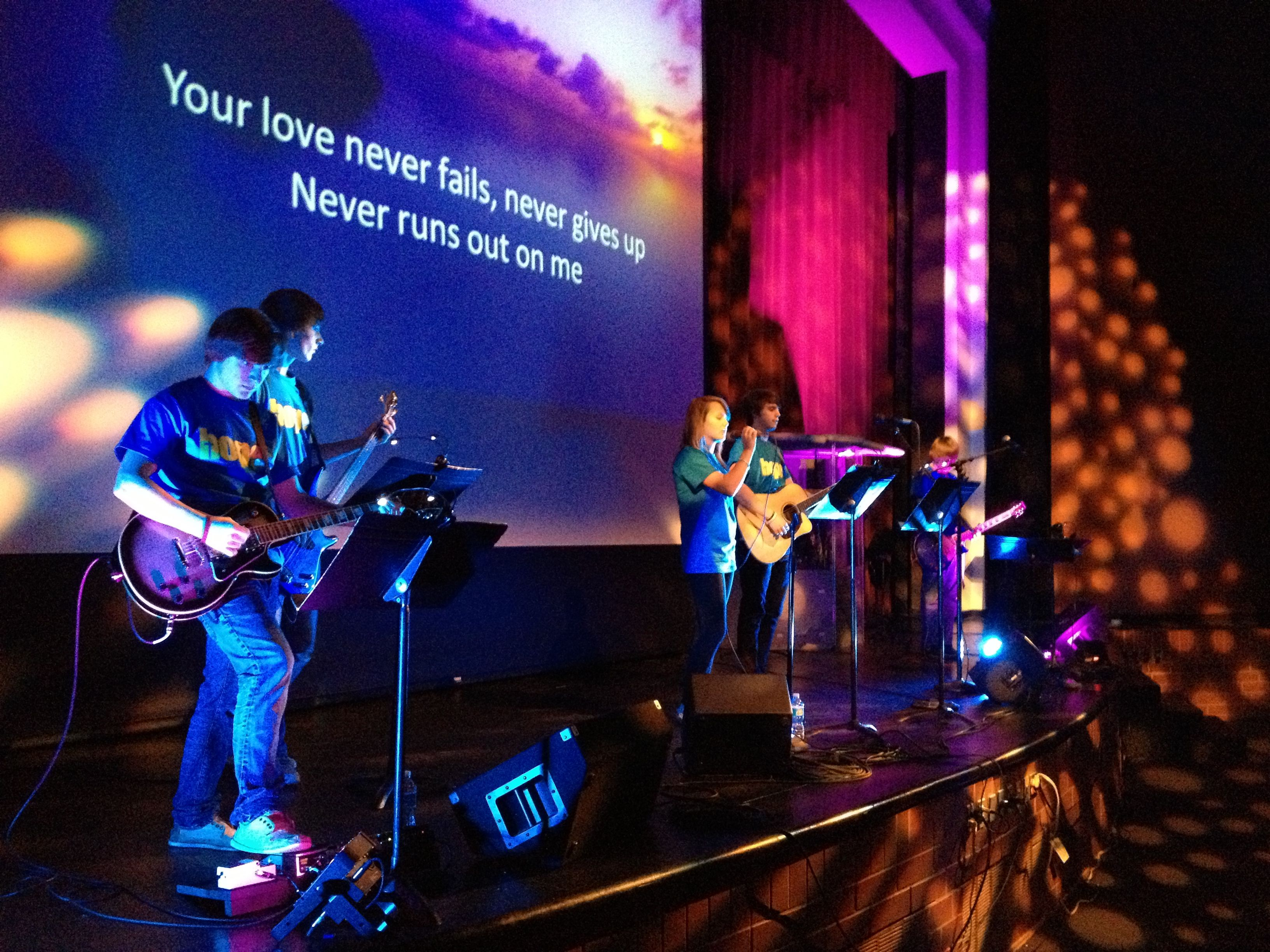 Overflow Band leading worship in Hastings MN at a city wide