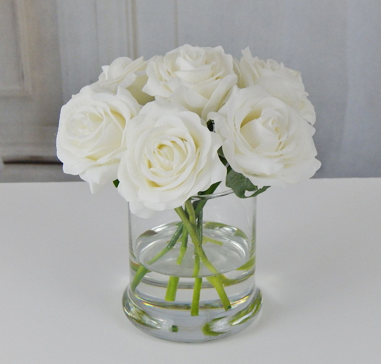 White, rose/roses, glass vase, faux water, acrylic, illusion, silk ...